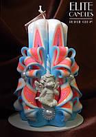 Ангельская свеча №3048, красиво украшена бусинками и ангелочком, в комплекте подставка и коробочка