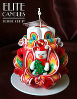 Свеча новогодняя, ручная работа, красиво украшена снеговиком с ёлочкой ручной работы