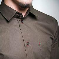 Черная мужская рубашка классическая приталенная с длинными рукавом синяя, белая, коричневая