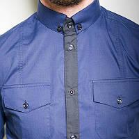 Синяя мужская рубашка 2014 стильная приталенная черная, белая, серая, синяя