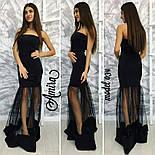 Женское стильное вечернее платье со вставкой фатина в пол (3 цвета), фото 3