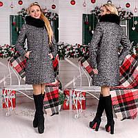 Зимнее женское  пальто с асимметричной застежкой  М  777511  Серый темный, фото 1