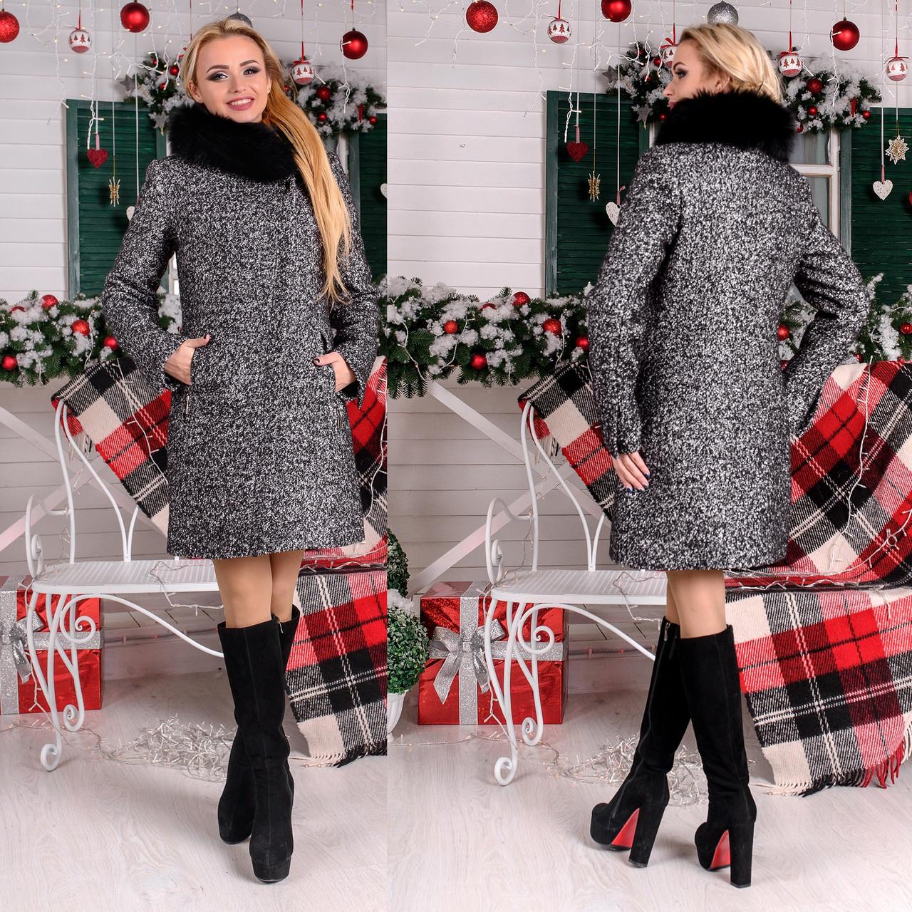 Зимнее женское  пальто с асимметричной застежкой  М  777511  Серый темный