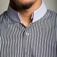 Приталенная мужская рубашка в белую полоску черная, синяя, сиреневая