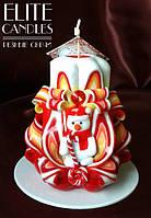 Свеча со снеговиком, ручная работа, прекрасный новогодний подарок