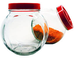 Банка стеклянная для сыпучих Sweet 1730 мл. с красной крышкой
