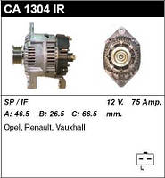 Генератор /75A/ Renault Megane, Clio, Kangoo 1,9D/DTI, Trafic 1,9D