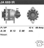 Генератор восст. /60A/ Nissan Bluebird 2,0D, Urvan 2,3D, Laurel 2,8D
