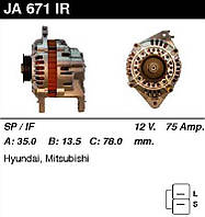 Генератор восст. /75A/ Hyundai Sonata II, Colt, Galant 1,6-1,8-2,0