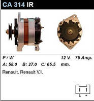 Генератор восст. /75A/ Renault Trafic, Master 2,5D