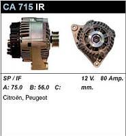 Генератор восст. /80A/ Citroen Berlingo, Reugeot Partner 1,1-1,4