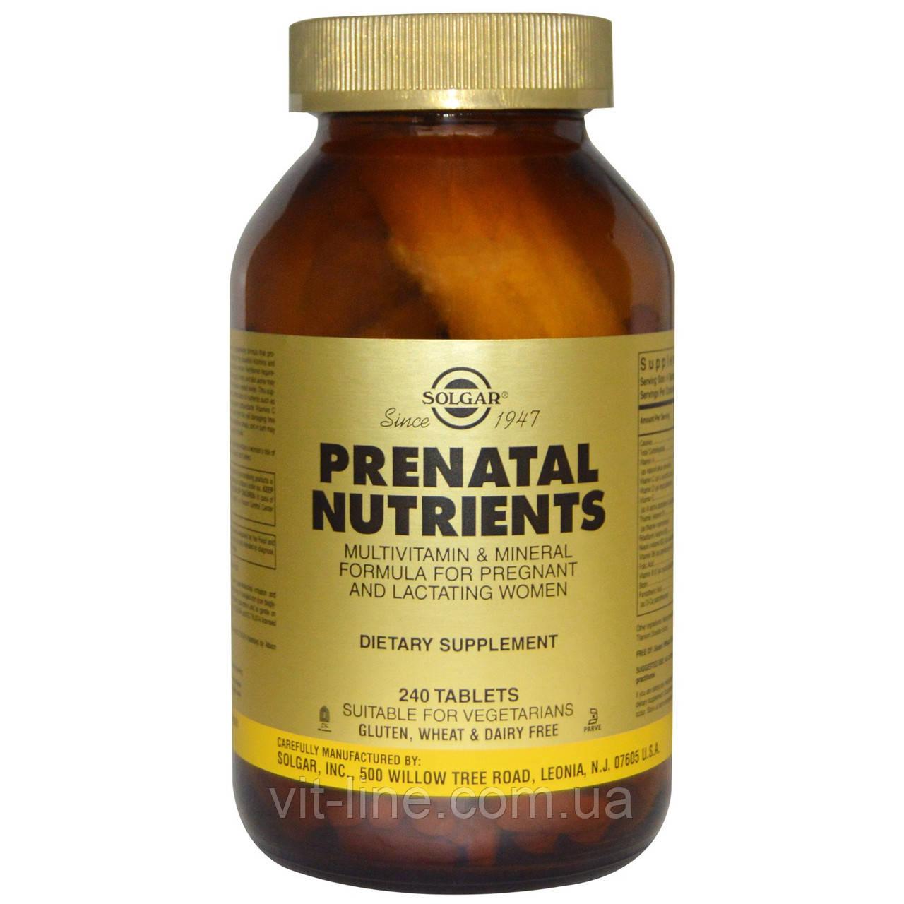 Solgar, Prenatal Nutrients, Multivitamin & Mineral Поливитамины и минералы для беременных 240 таблеток