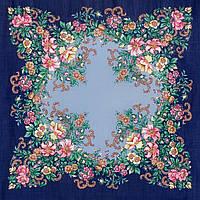 """Платок шерстяной с шелковой бахромой """"Вечерний сад"""", 89x89 см"""
