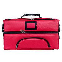 Профессиональный кейс для косметики с вынимающимся органайзером, красный , фото 1