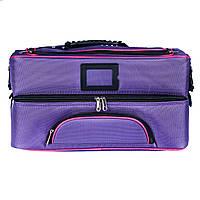 Профессиональный кейс для косметики с вынимающимся органайзером, фиолетовый , фото 1