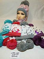 Комплект для девочки шапка+шарф на флисе Бантики р 52-54