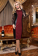 Модное нарядное платье ниже колен с кожаными вставками и гипюровыми рукавами 44-50 размеры, фото 1