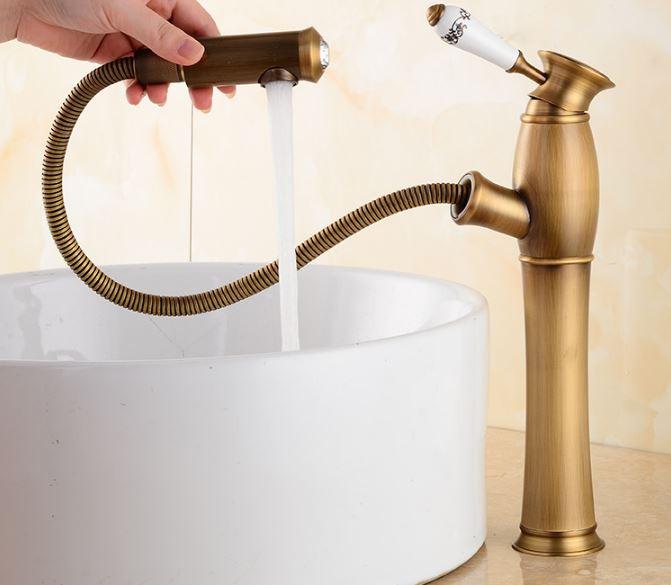 Смеситель кран одно рычажный в ванную комнату для умывальника бронза