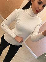 КРАСИВЫЙ ЖЕНСКИЙ ГОЛЬФИК С БУСИНАМИ НА РУКАВАХ (СЕРЫЙ, ЧЕРНЫЙ, БЕЛЫЙ, БЕЖ)