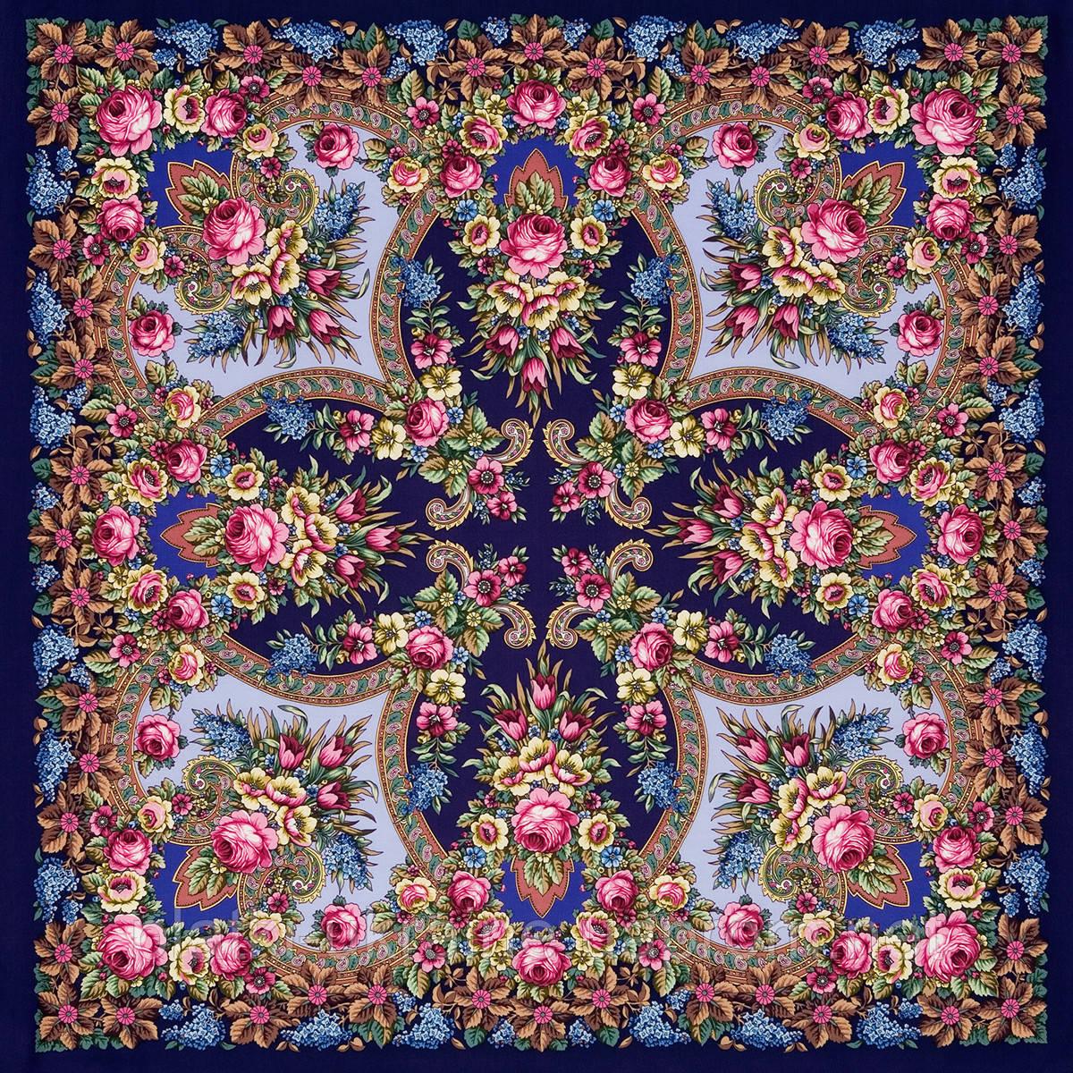 """Многоцветная шаль из уплотненной шерстяной ткани с шелковой бахромой """" Воспоминание о лете """" рис 563-14"""
