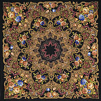"""Многоцветная шаль из уплотненной шерстяной ткани с шелковой бахромой """" Радоница """" рис 920-18"""