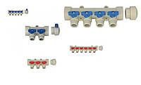 Коллектор вентильный распределительный для отопления на 6 выхода BLUE (10), Kalde