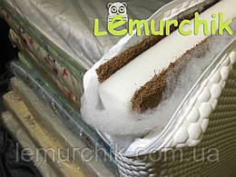 Матрас в детскую кроватку трехслойный толстый белый Tempur бязь (кокос-поролон-кокос) 120х60х11 см
