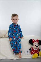 Пижама детская теплая байковая для мальчика зимняя хлопок Wiktoria W 166