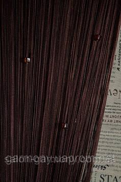 Серпанок штори нитки із стеклярусом венге (204)