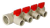 Коллекторы отопления на 4 выхода латунный с шаровым перекрытием (комплект), KLD