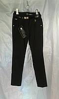 Школьные брюки детские на флисе для девочки 6-12 лет,черные, фото 1