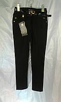 Школьные брюки детские на флисе для девочки 6-12 лет,черные