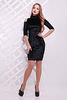 Велюровое черное платье до колена,теплое