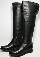 Сапоги зимние женские Street fashion 234 черные, кожа, низкий каблук, замочек, натуральный мех европейка.