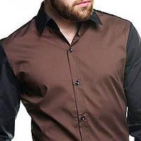 Джинсовая рубашка мужская приталенная с длинным рукавом