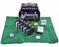 Покерний набір на 200 фішок з номіналом в металевій коробці.№200т-3, фото 1