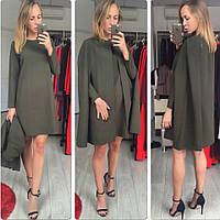 Костюм женский очень красивый!!!кейап+ платье , ткань диагональ, МНОГО РАСЦВЕТОК , фото реальные СТ № 3777