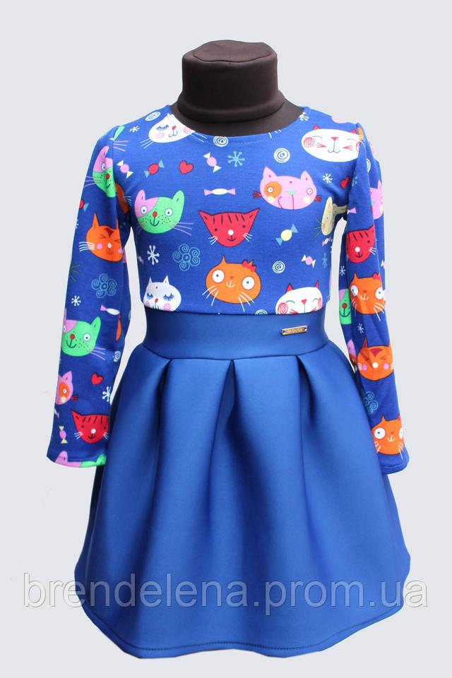 Праздничное  платье  Котики (1-4 года )110