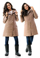Утепленное пальто на синтепоне с капюшоном