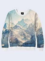 Оригинальный женский свитшот/толстовка Snowy Mountains (Заснеженные Горы) с 3D принтом на флисе.