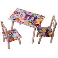 """Стол деревянный мини + 2 стула серии """"Winx"""", в кор. 62*42*6см, произ-во Украина"""