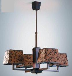 Люстра деревянная в цвете венге с абажурами, модерн, с кабинет, коридор 14107-4
