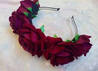 """Венок """"Роза"""" с шикарными большими розами. Цветы, Китай, бордовый"""