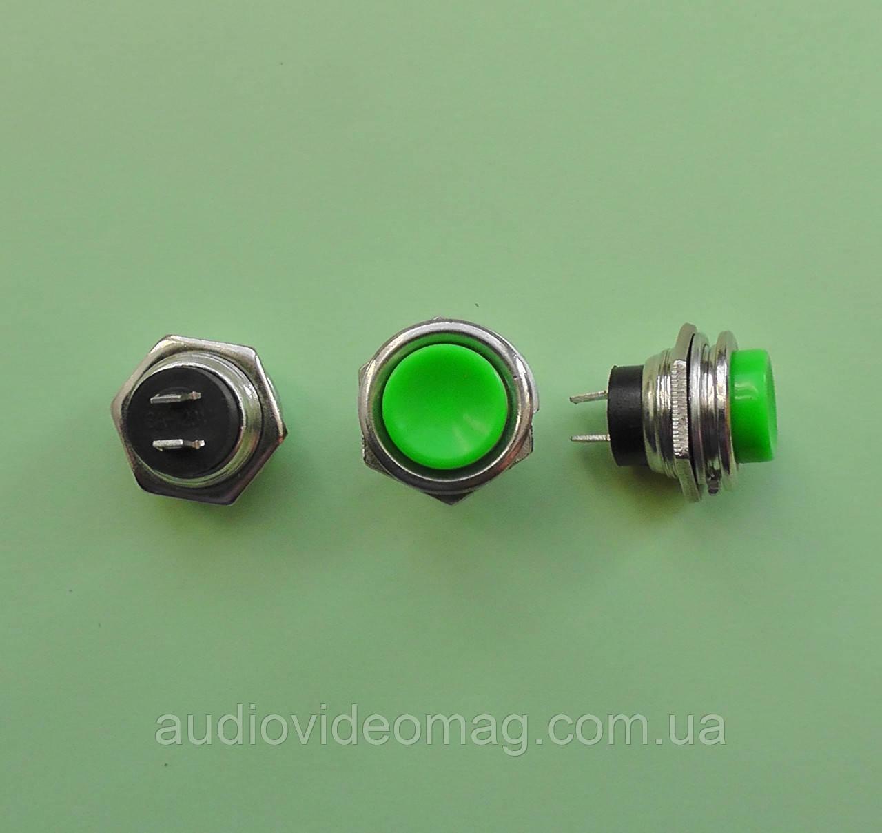 Кнопка пусковая без фиксации, 250V 1,5A , цвет - зелёный