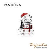 Pandora шарм РОЖДЕСТВЕНСКИЙ КОТЕНОК #792007EN39 серебро 925 эмаль Пандора оригинал