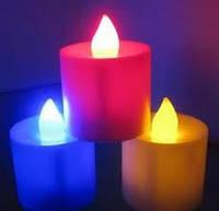 Свеча электронная  с пламенем цветной корпус