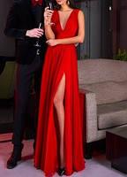 Красное Вечернее Макси Платье на Выпускной V-вырез Шифон Разрез