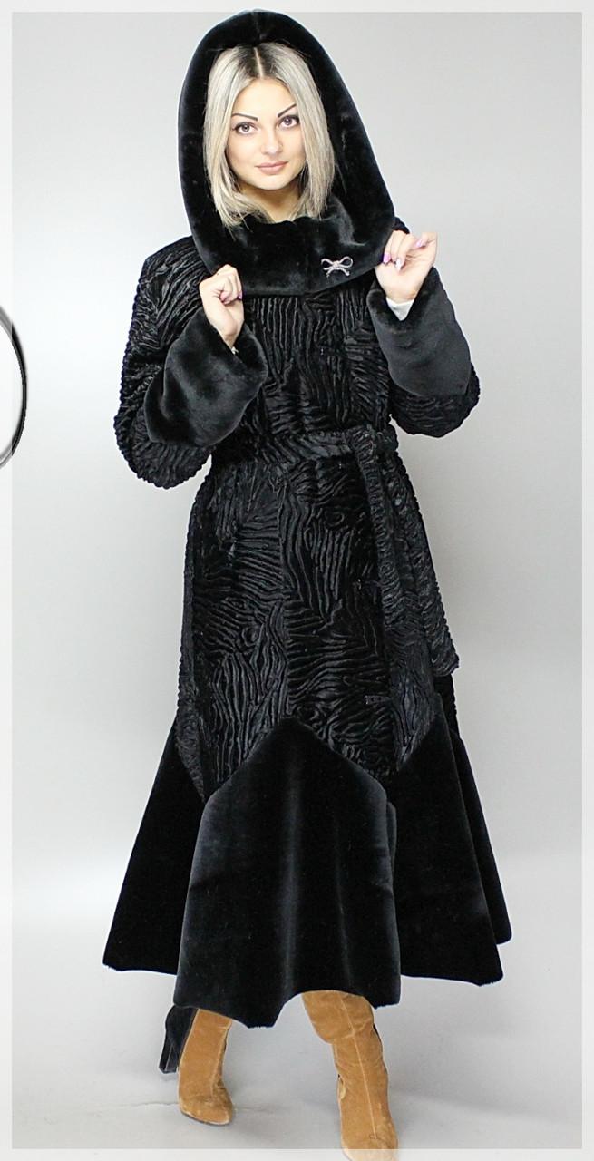 Шуба из каракуля М-101 (мк) Черный каракуль