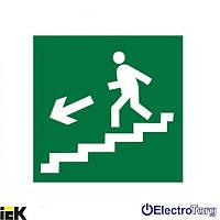 """Самоклеящаяся этикетка  50х50мм """"Направление к эвакуационному выходу по лестнице налево вниз"""" ИЭК"""