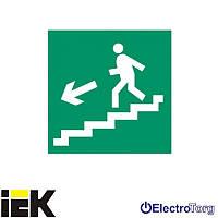 """Самоклеющая этикетка 150х150мм """"Направление к эвакуационному выходу по лестнице налево вниз"""" ИЭК"""